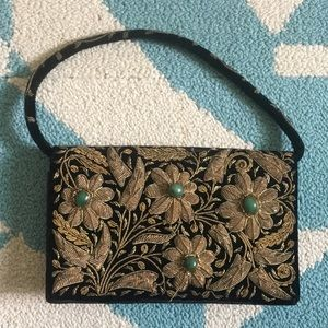 Handbags - Vintage small handbag, black velvet and gold